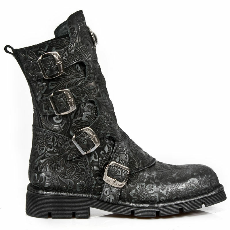 Newrock New Rock Women Ladies M.1471-S8 Black Drama Lead Raw Leather Boots