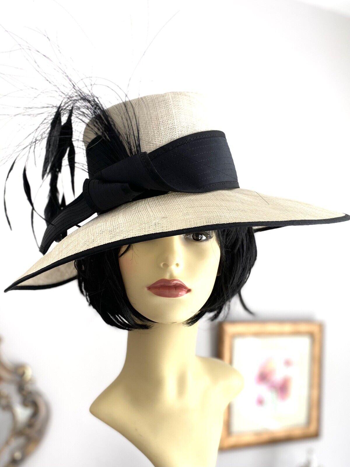 STYLISH IVORY BLACK HAT WEDDING WHITE CONDICI