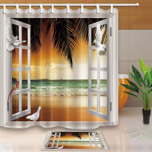 180*180cm 3D view Waterproof Fabric Shower Curtain Bathroom home decor 12 hooks