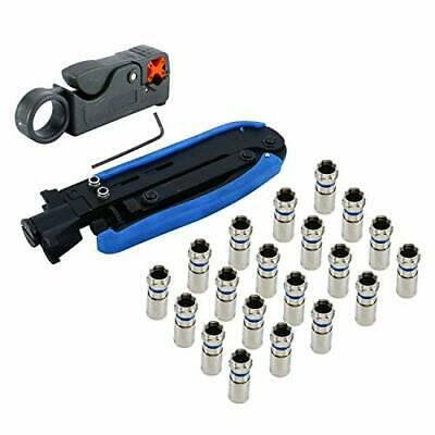 Compression Connector Coax Adjustable Tool Crimper F RG58 RG6//11 Kit Set