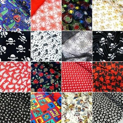 Sale Halloween Deformed Skulls Heads Chiffon Print Dress Fabric 147cm Wide
