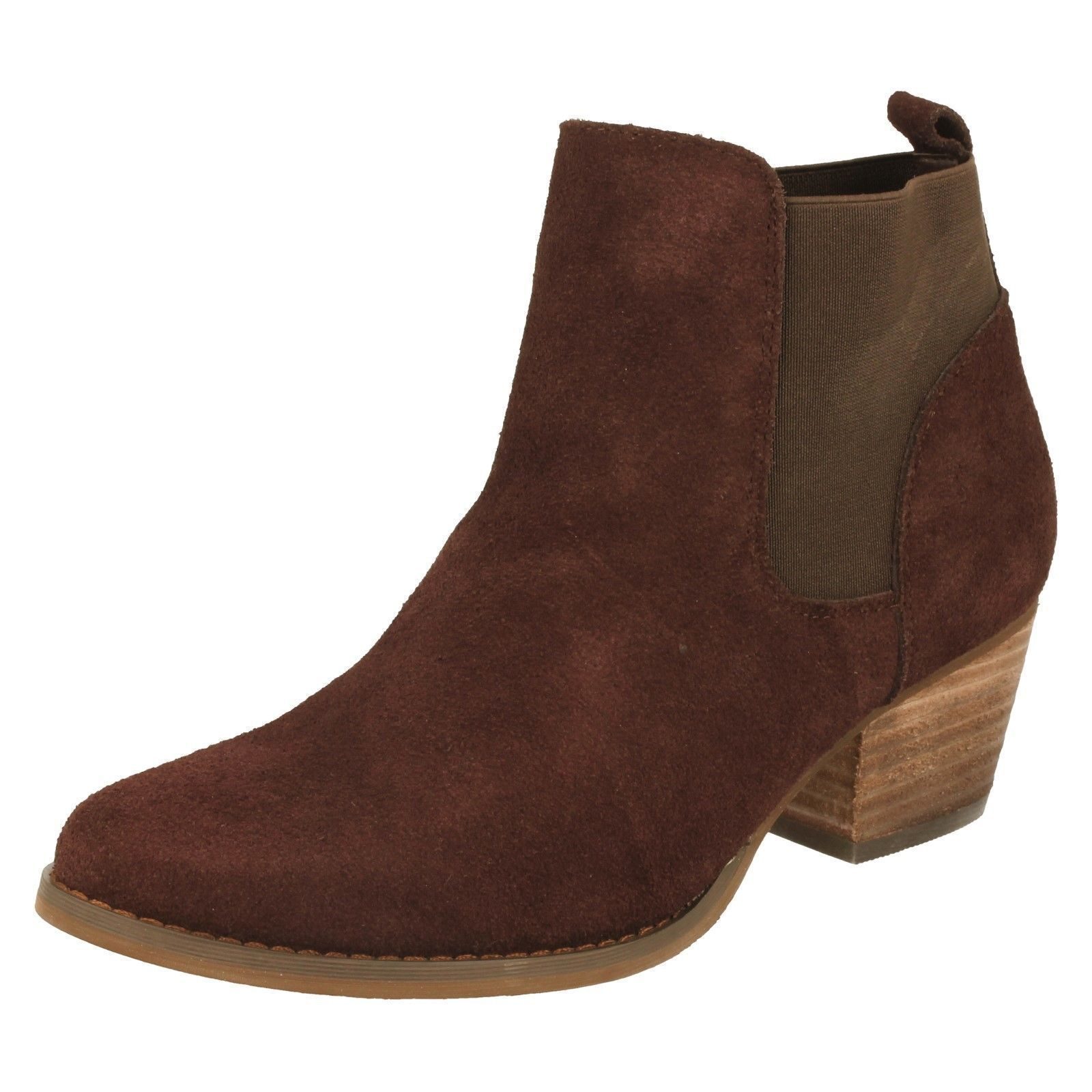 Down To Earth F50678 Ladies Brown Leather Suede Pull On Ankle Chelsea Boots