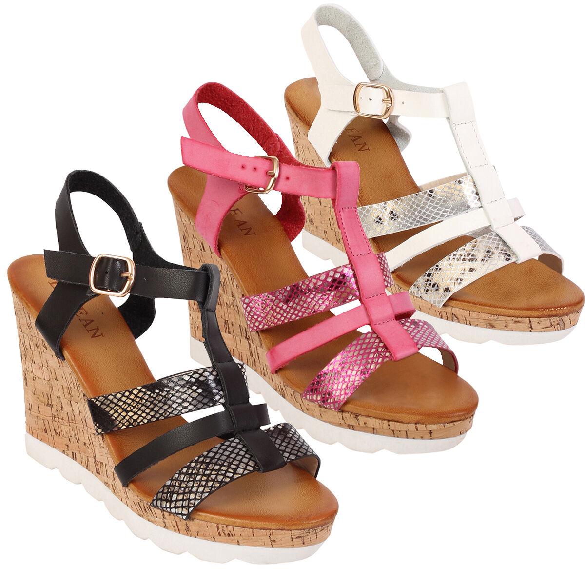 Ladies Cork Wedge Heel Shoes Strappy Sling Sandals Back Open Toes Summer Sandals Sling 359c11