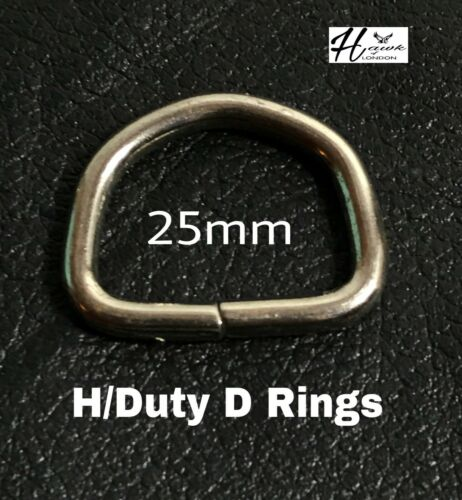 HIGH QUALITY METAL UNWELDED D RINGS LEATHER WEBBING CRAFTS ALL SIZES// QUANTITY