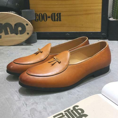 Slip on Belgian Dress Shoes Mens Leather Flats With Bowtie Loafers Driving Boat