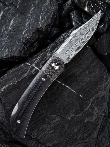 CIVIVI Rustic Gent G10 Backlock Damast Stahl Karbonfaser Bolster schwarz Lederet