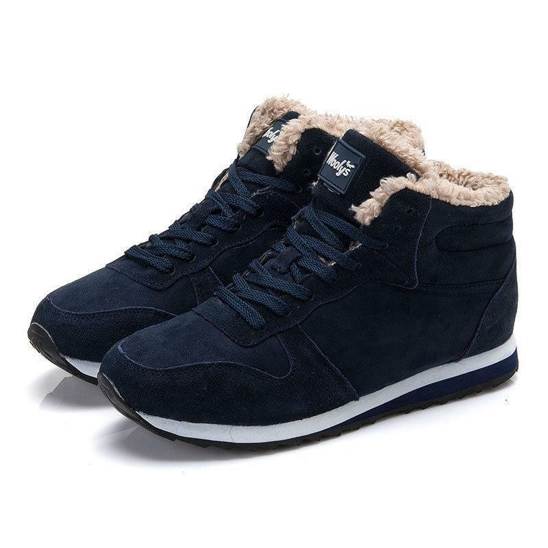 Mens  casual winter warm fur lined ankle lace up snow sneaker casual shoes boots