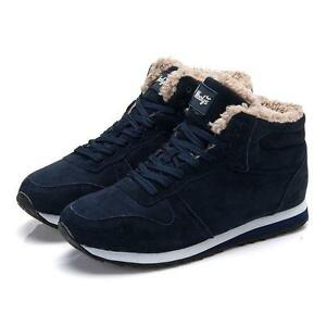 mens winter snow boots warm lace up fur lined sneaker