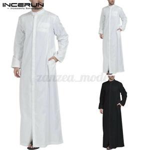 INCERUN-Men-039-s-Muslim-Clothing-Saudi-Arab-Long-Sleeve-Thobe-Islamic-Thobe-Kaftan
