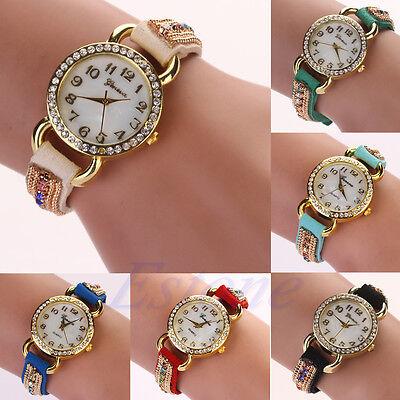 Geneva Women Faux Suede Rhinestone Shell Face Style Bracelet Quartz Wrist Watch