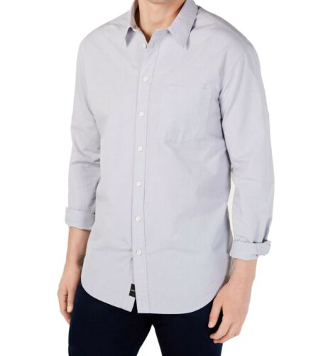 DKNY Mens Shirt Gray Size XL Button Down Dobby Print Point Collar $79 024