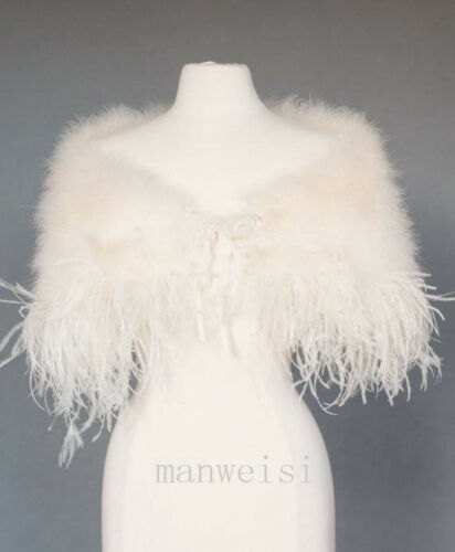 Vintage Ostrich Feather Wedding Capes Wraps Ivory Faux Fur Bridal Jackets Bolero