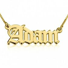 24K Gold Plated Old English Script Name Necklace