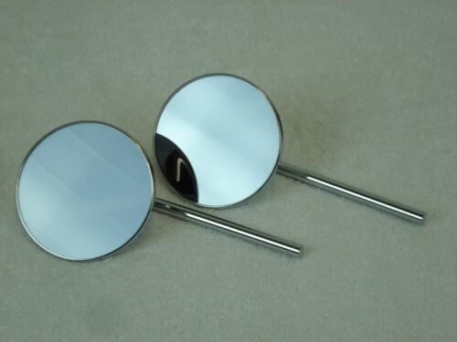 """Round Chrome Motorcycle Mirror Set Pair Clamp On 1/"""" or 7//8/"""" Handlebar Mirrors"""