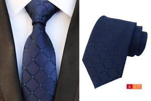 Blu-Navy-Cravatta-Rete-con-Motivo-Artigianale-100-Seta-Matrimonio-Cravatta-8cm