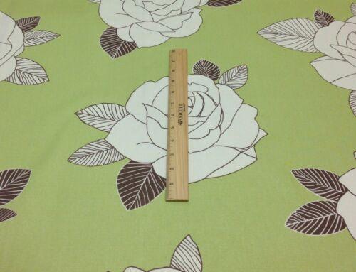 "KINGSWAY VANITY CHOCOLATE BROWN GREEN FLOWER MULTIUSE FABRIC BY THE YARD 54/"" W"
