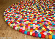 Multi-Color Felt Balls 150cm Round Nursery Hay Rug Freckle Pom Pom Mat Nepal