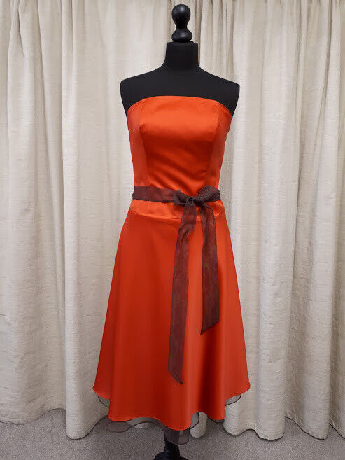 Alfred Angelo 6304 party, bridesmaid dress in burnt orange and chocolate size 14