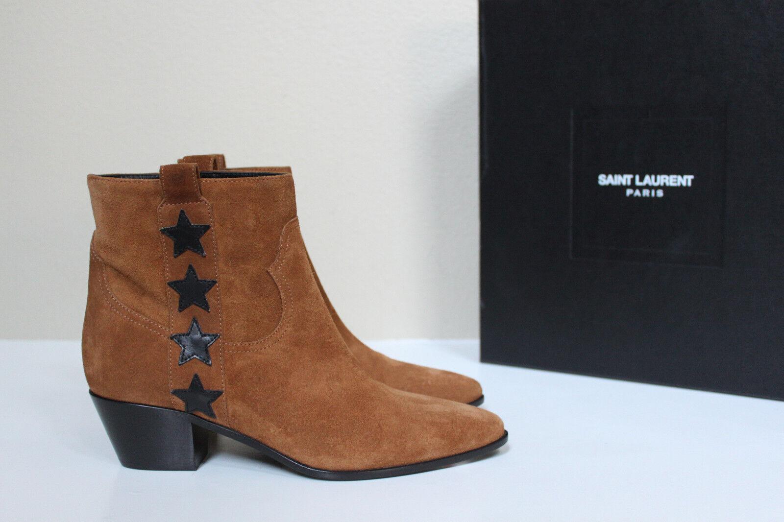 New sz 6 / 36.5 Saint Laurent Rock 40 Star Tan Suede Ankle Bootie Low Heel Shoes