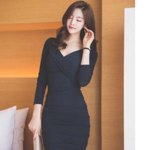 low priced 3f0b7 016a9 Dettagli su Elegante vestito abito corto nero scollato tubino maniche  lunghe comodo 3955