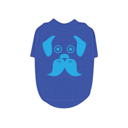 Puppy Tee 100/% Cotton Unisex RichPaw XXS-XXL Blue Dog T-Shirt Moustache Dog