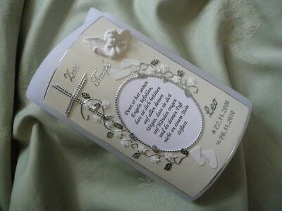 Taufkerze oval Spruch Junge Mädchen weiß silber inkl Kerzenkarton