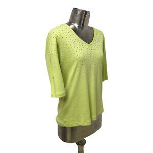 Marble Top T-Shirt Blouse Lime Green UK L 16 (EU 44) NEW V-Neck Women's RRP £49