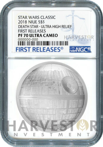 STAR WARS DEATH STAR ULTRA HIGH RELIEF NGC PF70 FIRST RELEASES COIN 2 OZ