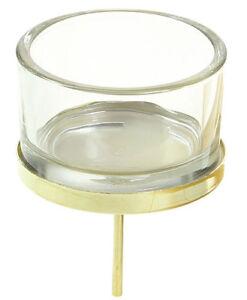 Adventsstecker Glas Metall Gold Teelicht Halter Adventskranz Kuchen