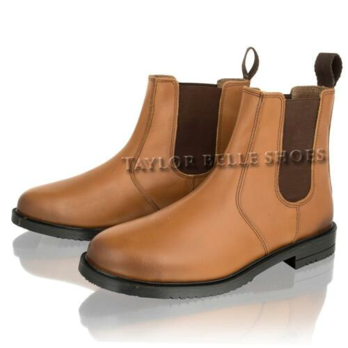 Boys Kids Leather Infant Childrens Dealer Tan Chelsea Ankle Boots Shoe Size 8-13