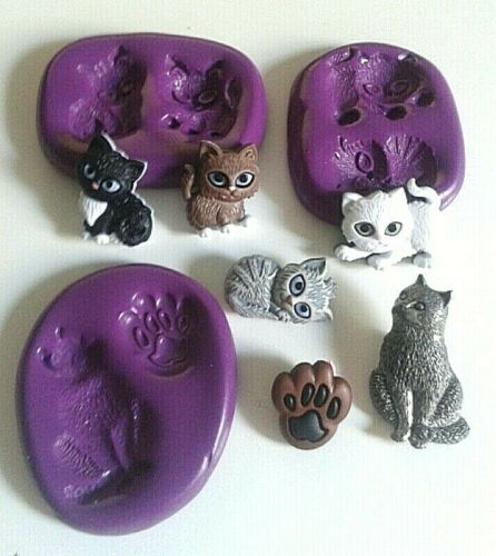 CATS KITTENS PAW Silicone Mould Set Flatback FOOD SAFE Fimo Clay Cake Decorate