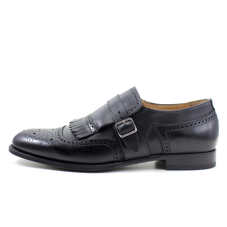 SCARPE UOMO NERE fibbia scarpe GIORGIO REA artigianali Italiane scarpe fibbia pelle 7618NE fea36a