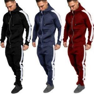 Mens-Autumn-Winter-Zipper-Print-Sweatshirt-Top-Pants-Sets-Sport-Suit-Tracksuit