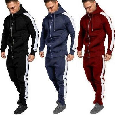 Mens Autumn Winter Long Sleeved Zipper Leisure Suit Tops Pants Sets Tracksuit