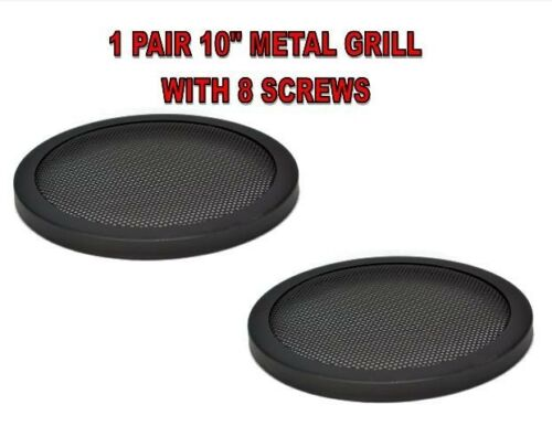 """10/"""" INCH CAR SPEAKER WOOFER STEEL MESH GRILL WITH SPEED CLIPS AND SCREWS 1 PAIR"""