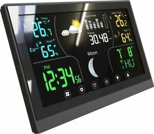 Wetterstation Thermometer Barometer Touchdisplay Innen + Außen Sensor