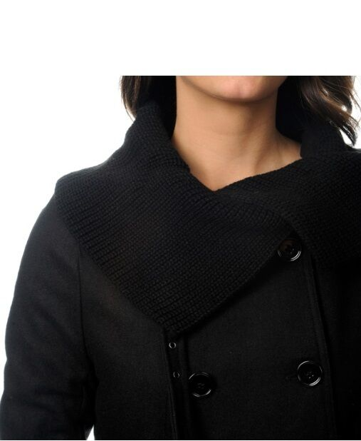 New Mo-Ka Women's OLIVE  SMALL SMALL SMALL  Wool Blend Knit Ribbed Envelope Collar Pea Coat 1d5c5c