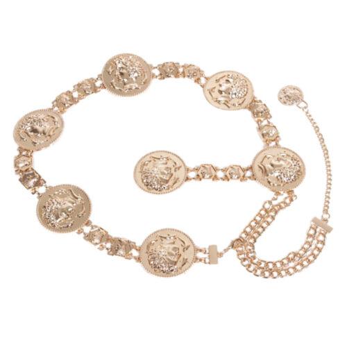 Neue Mode Kette Gürtel Für Frauen Goldene Münze Delphine Metall Taille G M7Q6