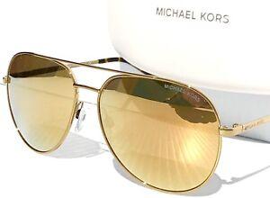 978aaa12c2 NEW  MICHAEL KORS GOLD MIRROR 58mm AVIATOR MK5009 Rodinara Sunglass ...