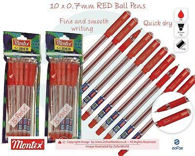 100 x HIGH QUALITY RED BALL POINT BALLPOINT BIRO PENS