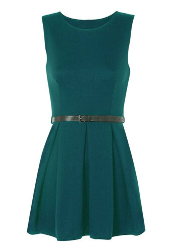 New Women/'s Belted Sleeveless Flared Club Party Skater Dress Printed S//M - M//L