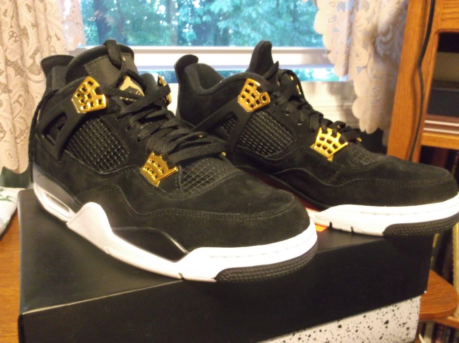Nike Air Jordan 4 Retro  Royalty Black Gold Mens Sz 10.5