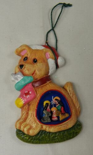 "Christmas Holiday Puppy Dog Ornament with Nativity 3"" NOS"