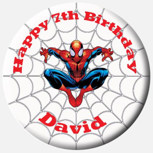 Childrens Kids Personalised Spiderman 58mm or large 75mm Birthday Badge