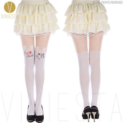 CUTE RABBIT WHITE TATTOO TIGHTS -60D Women Girl Fancy Dolly Chic Party Pantyhose
