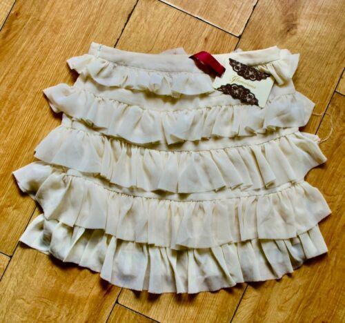 Cream Tiered Rara Ruffle Mini Skirt UK 12 Skater Festival Frilly Boho Gypsy