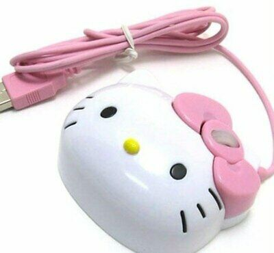 3D Cartoon Hello Kitty Wired Mouse USB 2.0 Pro Pink Cute Gaming Mouse Optical