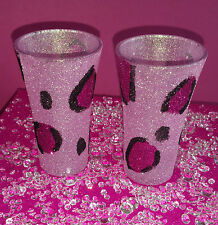 2 PINK LEOPARD SHOT GLASSES GLITTER PRESENT WEDDING BIRTHDAY CHRISTMAS