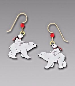 Hand Carved Polar bear earrings sterling silver .925 earrings with polar bear