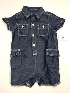 Baby-Gap-Boys-Denim-Buttondown-Shorts-Romper-Jumpsuit-NWT-Blue